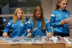 collating the stickers with the players