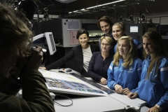 Ladies of Gent on press at Graphius, with players visiting
